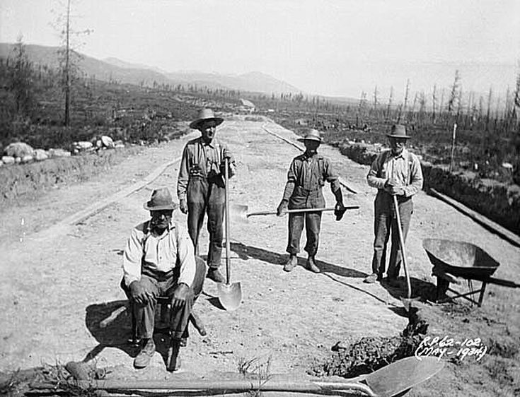 Great Depression in Canada Pictures: Road Construction Relief Project in the Great Depression