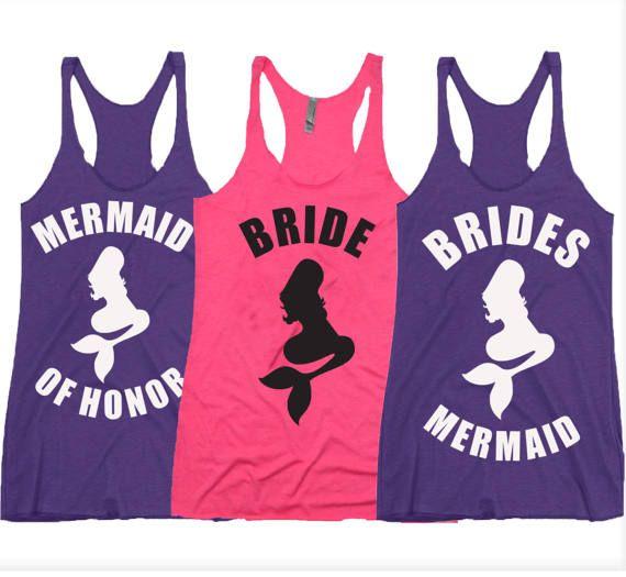 Bachelorette Party Tank Mermaid Shirts Brides By Bachelorettestore Mermaidshirts Mermaidofhonor Bridesmermaid