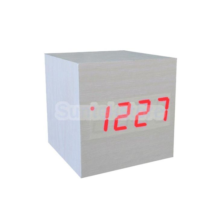 Red Led Travel Alarm Clock Sound Control Desk Thermometer Calendar White