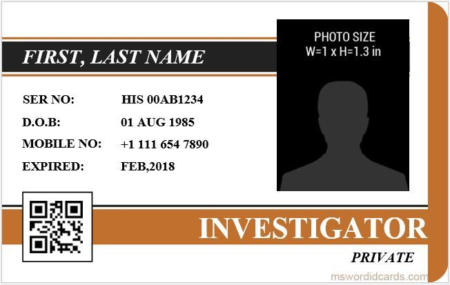 5 Best Investigator Id Card Templates Ms Word Microsoft Word Id Card Templates Id Card Template Card Templates Card Template