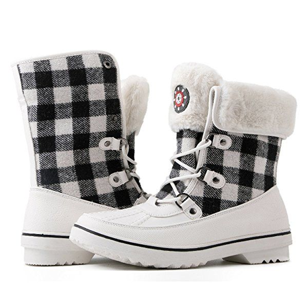Red Plaid Winter Snow Boots 10M