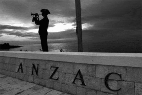 "Lest we forget   The letters ANZAC stand for ""Australian and New Zealand Army Corps"", Anzac Day remembers the Australian and New Zealand forces who have gone to war. ANZACs were originally the soldiers who had fought a famous battle at Gallipoli in Turkey during World War I."