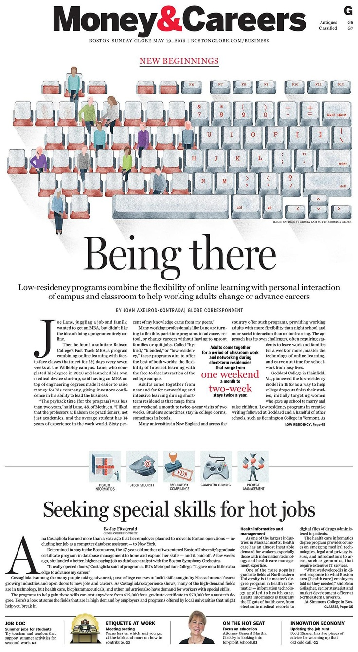Boston Globe - Being There  #sectionstarts #illustrationpages