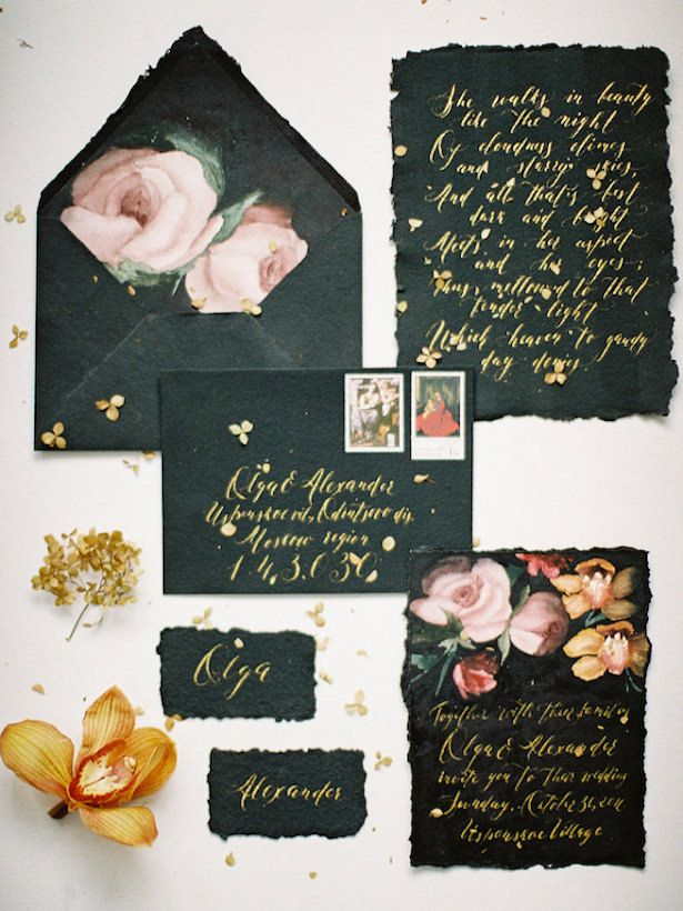 Metallic Wedding Stationary -Photography: Olga Siyanko
