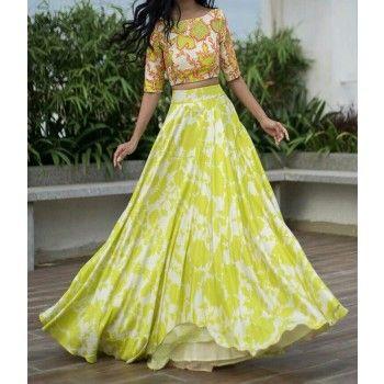 Poly Silk Green Floral Print Semi Stitched Lehenga - EGREE