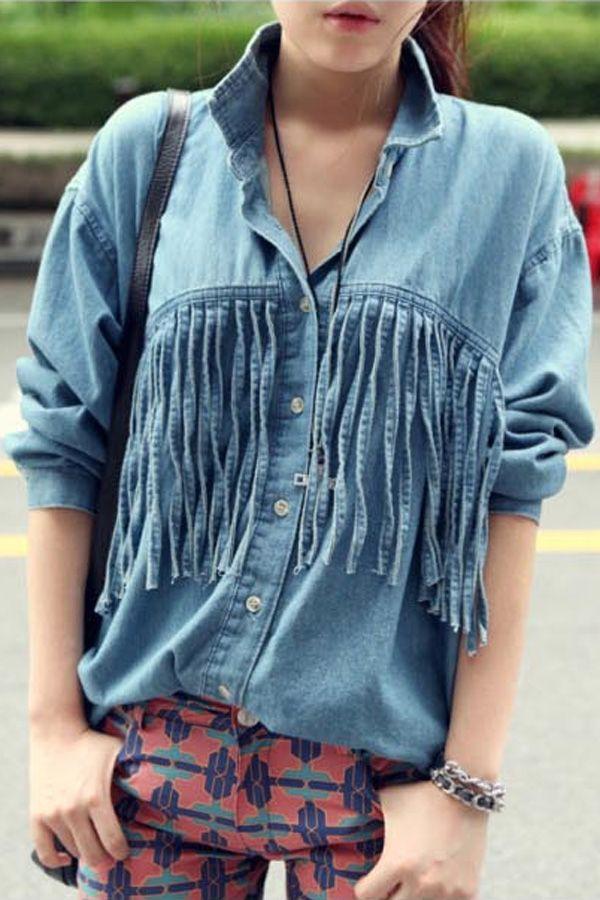 Tassles Embellished Long Sleeve Denim Shirt OASAP.com