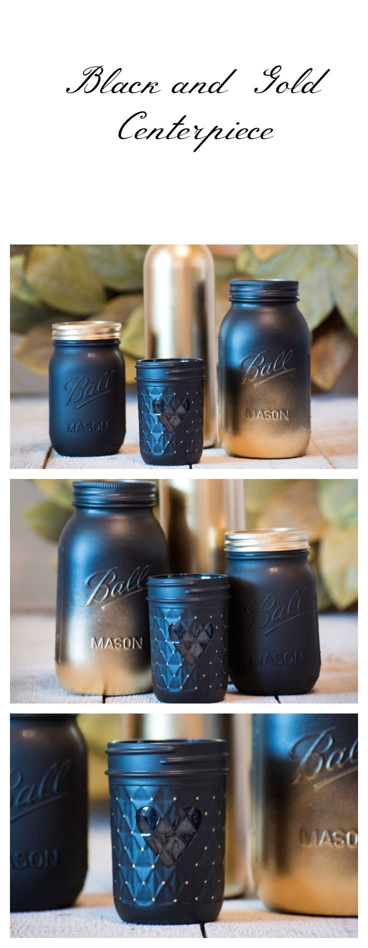 pictures of wedding centerpieces using mason jars%0A Mason Jar and Wine Bottle Wedding Centerpiece  Ombre Modern Decor  Gold and  Black Rustic