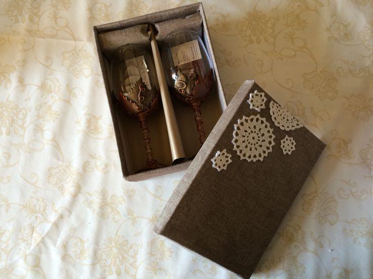 Copas de vino decoradas con arcilla polimerica caja - Cajas de zapatos decoradas ...