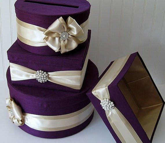 Perfect card box for a play on Christmas wedding!!! Claret red with the gold