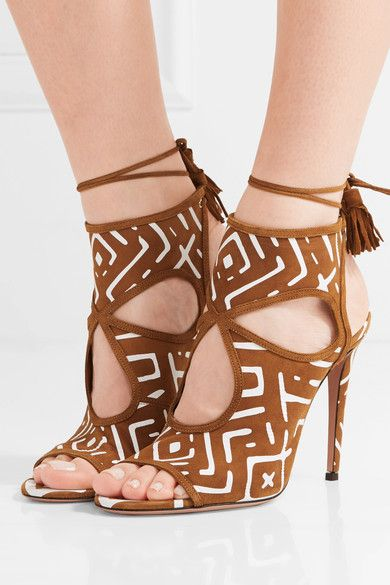 Aquazzura - Sexy Thing Cutout Printed Suede Sandals - Tan - IT36.5