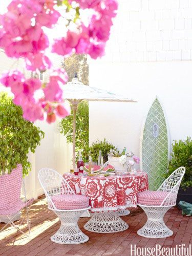 Pink PatioColors, Beach Houses, Outdoor Patios, Patios Sets, Gardens, Outdoor Room, Pink, Surfers Girls, Outdoor Spaces