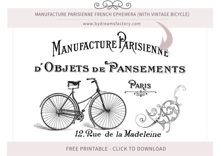 Fabricação Parisienne coisas efêmeras francês (com bicicleta do vintage) - tipografia francesa download gratuito www.bydreamsfactory.com