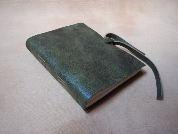 Marbled green leather journal tea stained pages by LindeDesigns
