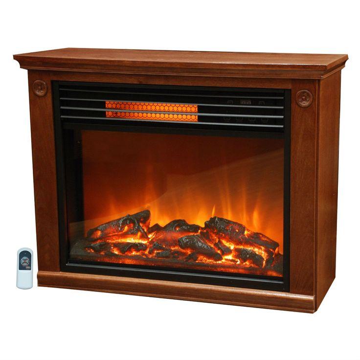 Infrared Electric Fireplace Space Heater 1500-watt Medium Oak Finish