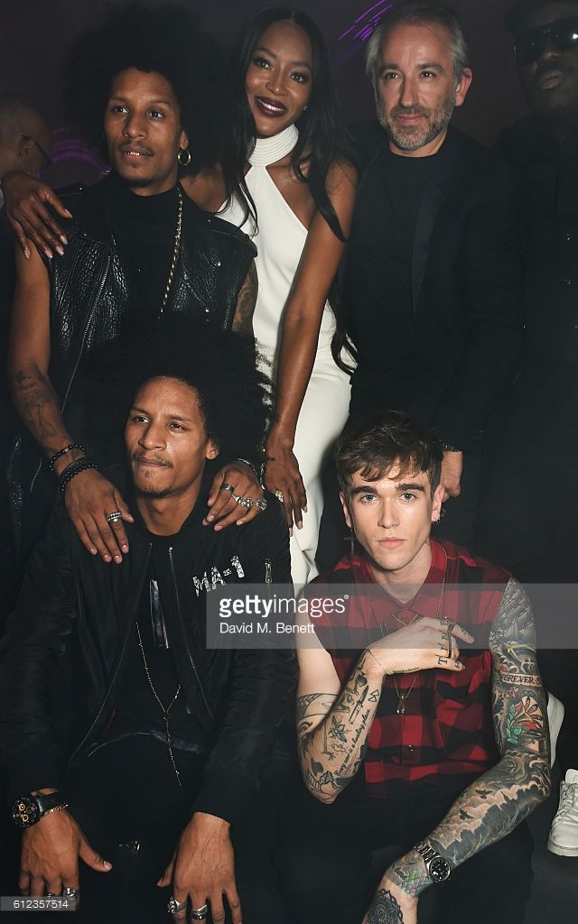 Larry Bourgeois and Laurent Bourgeois aka Les Twins, Naomi Campbell, Cyril Chapuy and Gabriel-Kane Day-Lewis attend the L'Oreal Paris Gold Obsession Party at Hotel de la Monnaie on October 2, 2016 in Paris, France.
