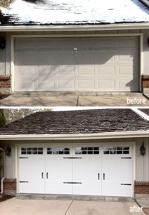 Garage door upgrade to a low-maintenance steel carriage house style.