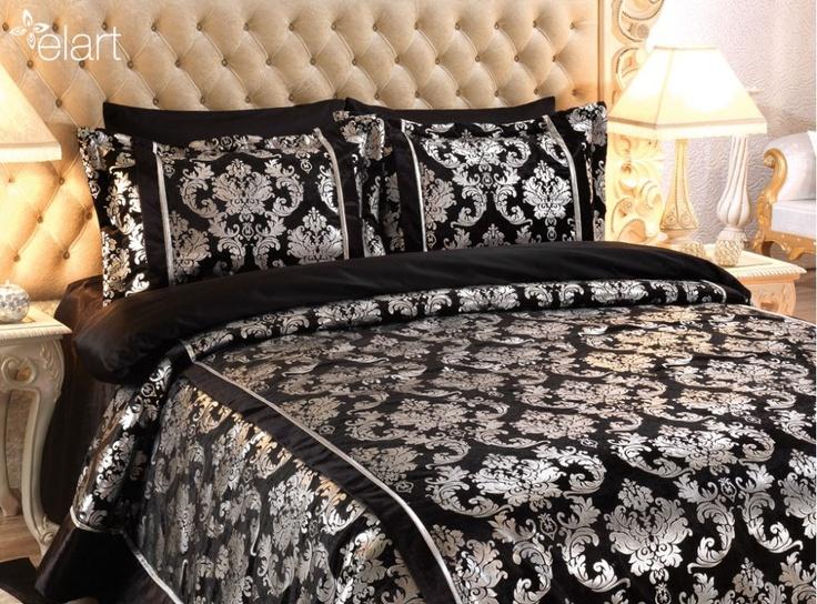 Topkapı Yatak Örtüsü Siyah - Gümüş
