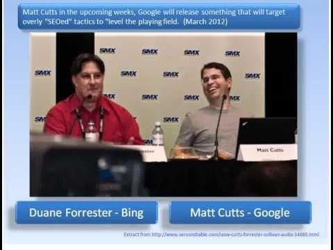 Google algorithm update due Mid 2012 to counter over-optimized websites - Matt Cutts audio.