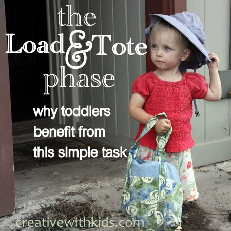 Toddler Load and Tote Ideas- part of the Things to do with Toddlers series: Baby Toddlers Plays Ideas, Gain Body, Toddlers Loaded, Totes Ideas, Carrie Things, Toddlers Series, Baskets, Body Awareness, Totes Phases