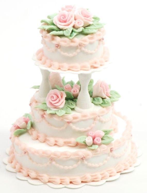 Dollhouse Miniature, 1:12 scale, 3 Tier Wedding Cake with Pink Roses