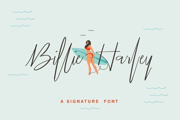 Billie Harley Signature Font by Alfiyan on @creativemarket
