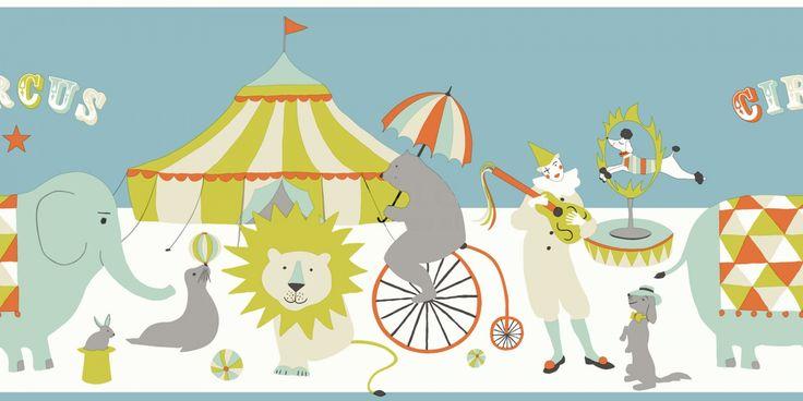 Lekfulla #cirkusdjur från kollektionen Everybody Bonjour #bård 178704. Klicka för att se fler #inspirerande #tapeter för ditt hem!