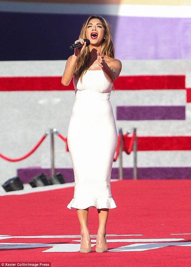 All white on the night: Nicole Scherzinger was certainly dressed to impress as she took he...