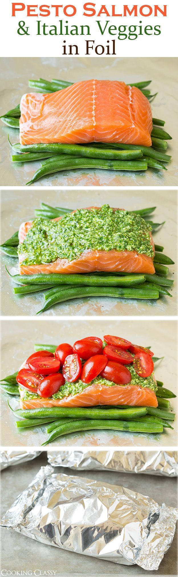 Pesto Salmon and Italian Veggies in Foil Recipe - this is an easy, flavorful dinner that is sure to please! So delicious!