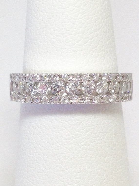 0.75CT Diamond Wedding Band Anniversary Ring Art Deco Antique Bands 1/2 Eternity Stackable Rings Platinum 18K 14K White Yellow Rose Gold