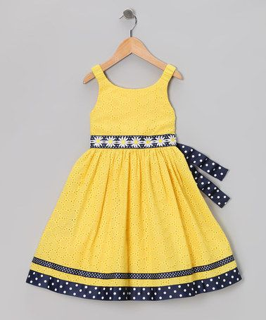 Take a look at this Yellow & Navy Eyelet Daisy Dress - Infant by Sweet Heart Rose on #zulily today!