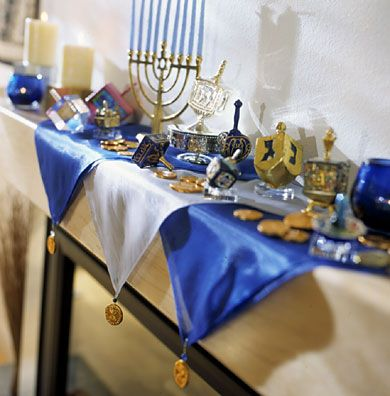 This is a colorful and beautiful mantel decorated for Hanukkah!