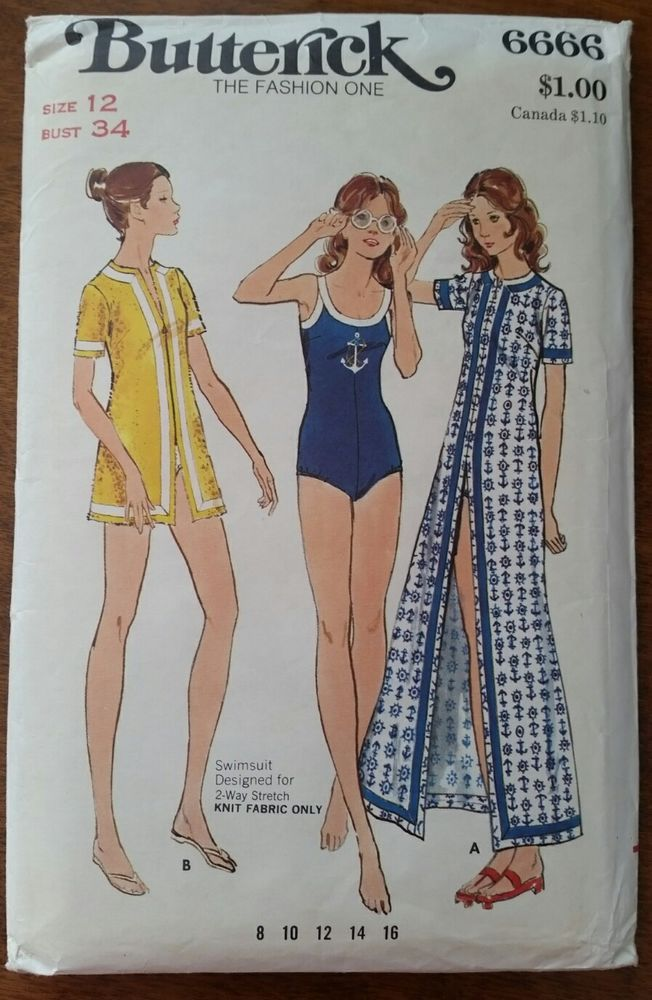 eeeafcaca3750 Vintage SWIMSUIT SEWING PATTERN Uncut! Swim Cover Up Butterick 6666 34 Bust  #Butterick