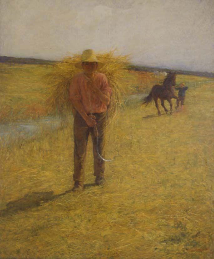 Workin in the country: Plinio Nomellini, Il fieno, 1887.