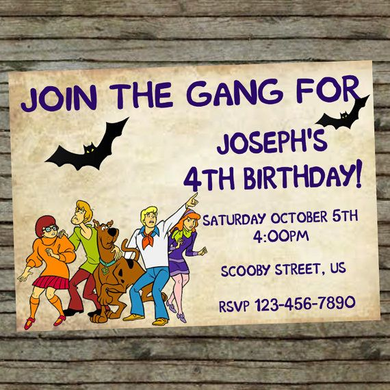 scooby doo diy custom order birthday invitation birthday funbirthday party