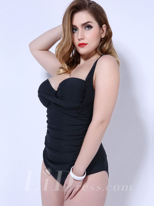 Black Solid Color One-Piece Plus Size Womens Swimsuit With Fold Adornment Lidyy1605202056