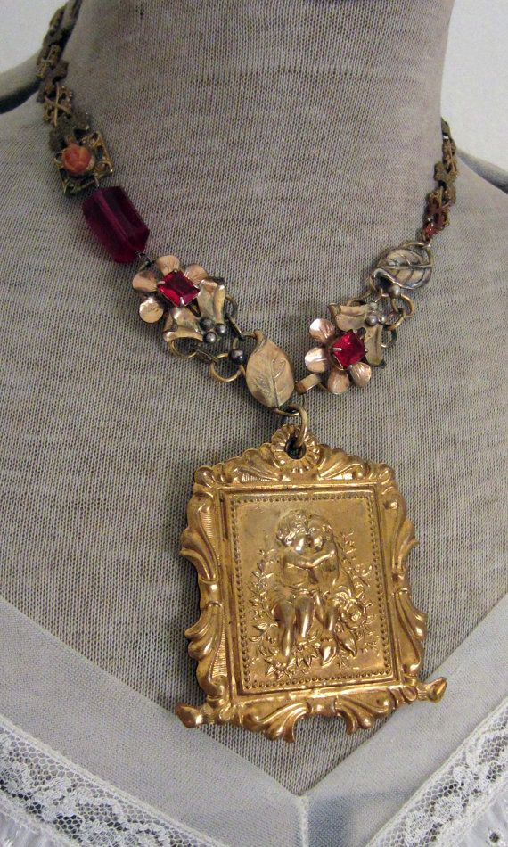 little cherubs  vintage assemblage necklace by TheFrenchCircus,