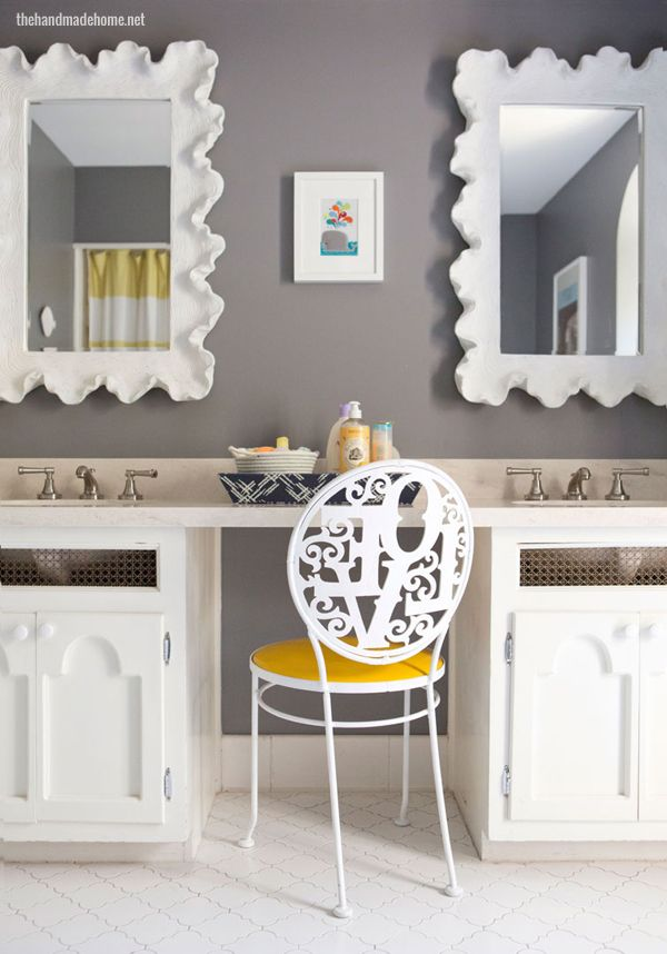 Super cute gray and yellow kid's bathroom - Adore the colors, accessories  and the LOVE chair!