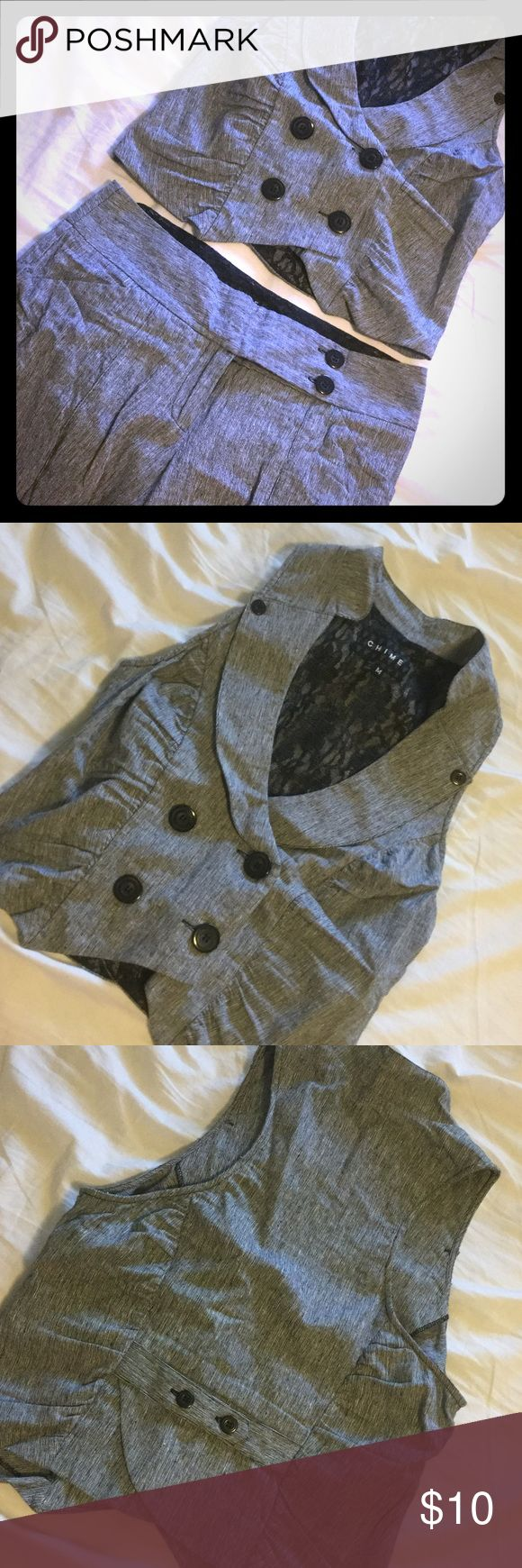 Matching vest & Bermuda short suit Gray vest and short suit. Vest is cropped and shorts are Bermuda length. Thick material. Very flattering. Size M vest, size 7 shorts. Chime Other