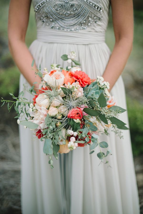 dove grey wedding gown and bouquet with pops of coral   // photo by Delbarr Moradi, flowers by Shotgun Floral Studio // http://ruffledblog.com/romantic-pescadero-wedding