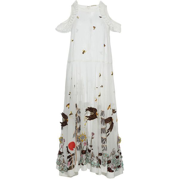 Hand Embroidered Mid Length Dress | Moda Operandi ($2,160) ❤ liked on Polyvore featuring dresses, crew neck dress, mid length dresses, cutout dresses and cut out dresses