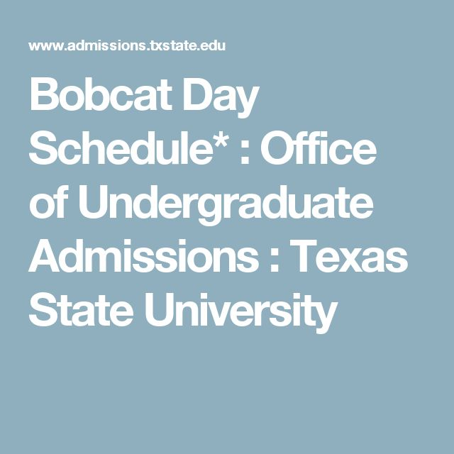 Bobcat Day Schedule* : Office of Undergraduate Admissions : Texas State University