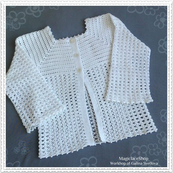 #Hand_knitted_cardigan_for_girls #hand_crocheted_jacket #white_knitted_cardigan #summer_cardigan #openwork_cardigan