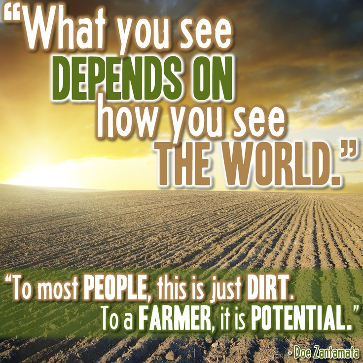 What you see depends on how you see the world. To most people this is just dirt. To a farm, it is potential.