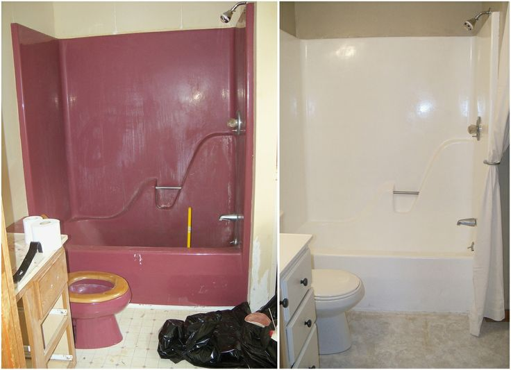 Yes! The ugly bathtub will also be painted fresh and clean. The previous renter with his 23 parrots will be washed away for good with: DIY - Re-Enameling A Maroon Bathtub
