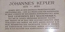Johannes Kepler – Gedenktafel in Graz