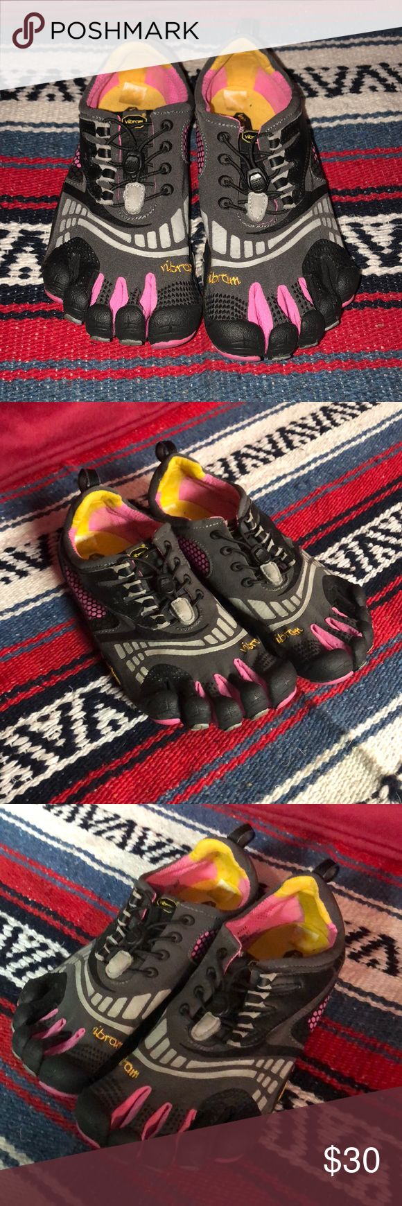 Vibram five fingers women's size 11 Vibram five fingers pink and gray in good condition 11 Vibram Shoes Sandals