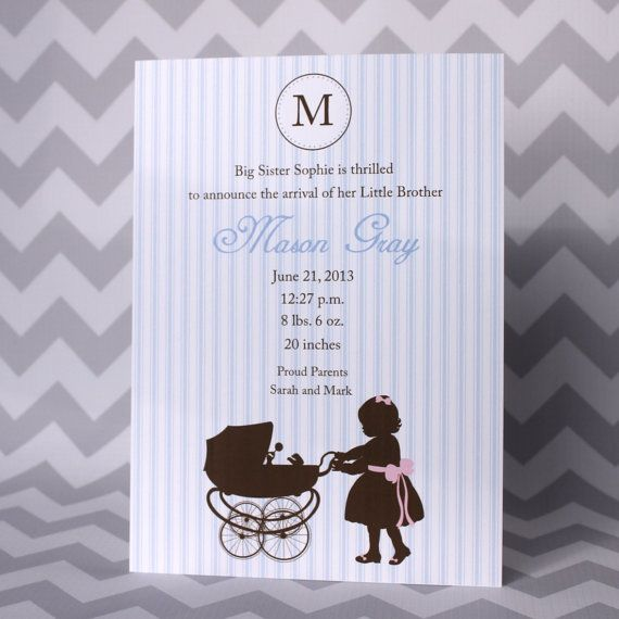 Girl Sibling Birth Announcement on Etsy, $44.14 AUD