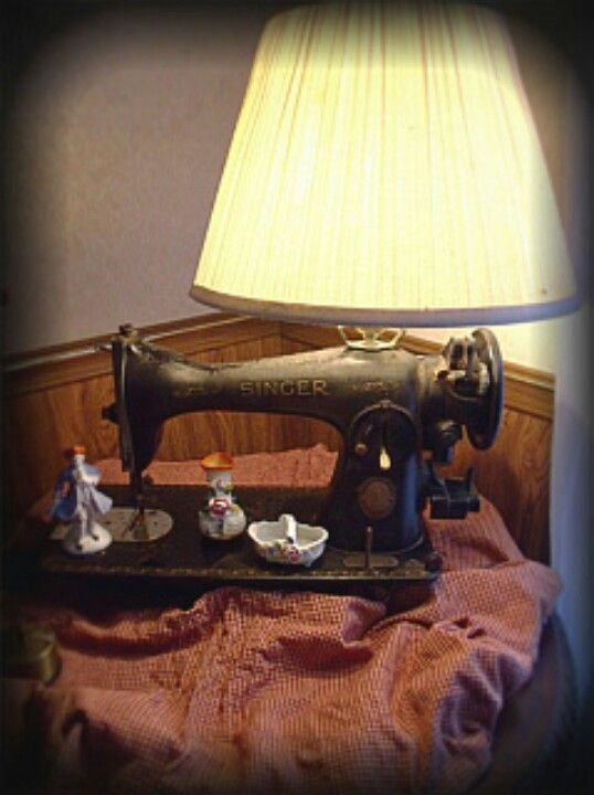 Lamp from repurposed vintage old sewing machine upcycle