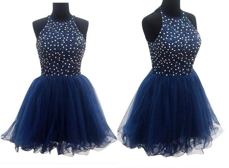 Ball Gown Navy Blue Prom Dresses Homecoming Dresses,Short prom dress,Beading dress