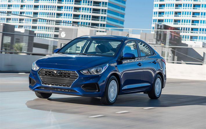Télécharger fonds d'écran Hyundai Accent, 2018, 4k, à l'extérieur, bleu nouveau l'Accent, vue de face, la berline compacte, Hyundai